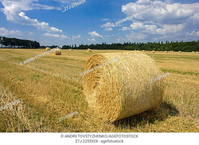 straw bale and blue sky
