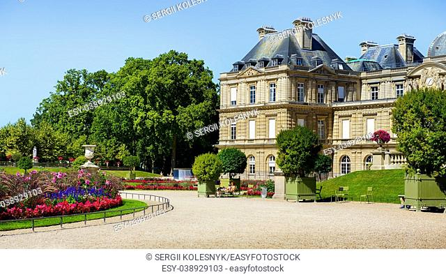 Luxembourg Palace and beautiful park in summer, Paris