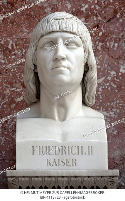 Bust of Emperor Frederick II., 1194-1250, Wallhalla, Donaustauf, Upper Palatinate, Bavaria, Germany