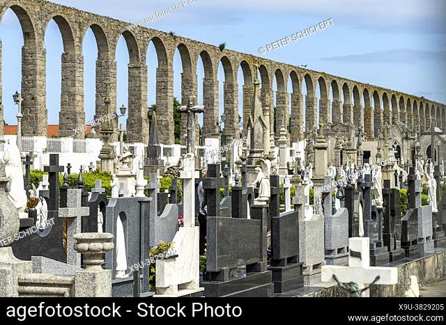 Aqueduct and Cemetery in Vila do Conde, Portugal, Europe