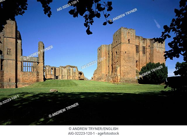 Kenilworth Castle. Inner Court with Leicesters Building on left and the Norman Keep on the right