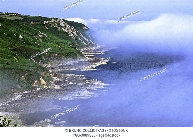 coastal view between Quervière bay and omonville, normandy, france