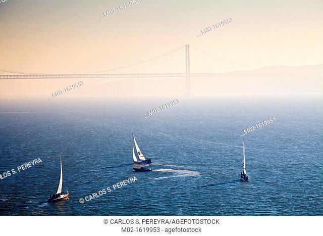 25th April Bridge inTagus river, Lisbon, Portugal