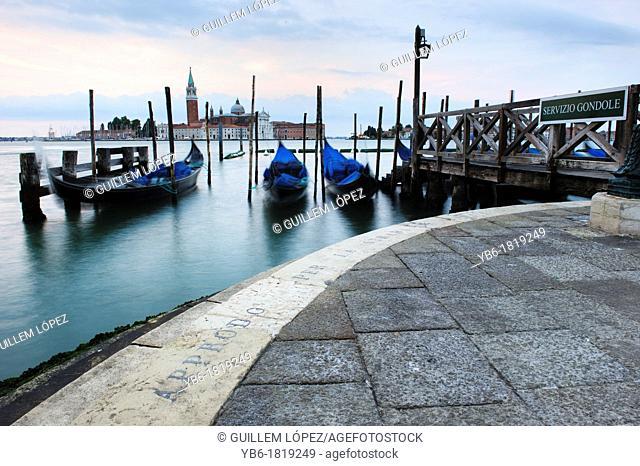 Gondolas Moored by the St  Mark's Basin, Venice, Italy