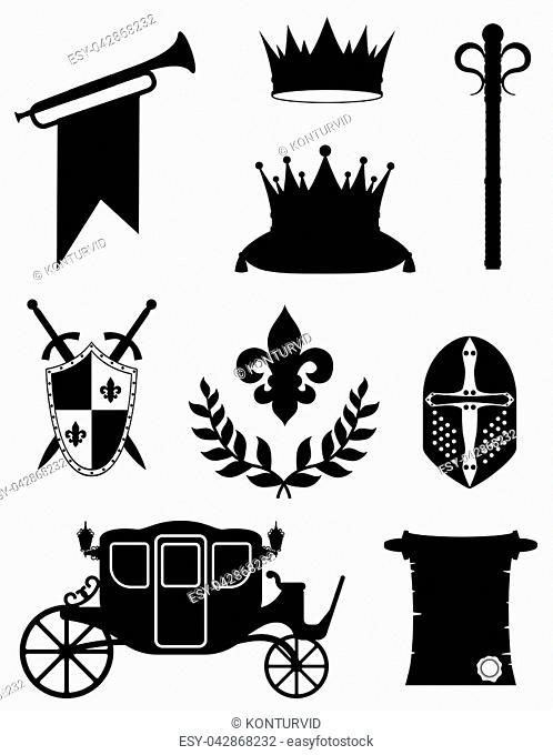 king royal golden attributes of medieval power black outline silhouette vector illustration isolated on white background