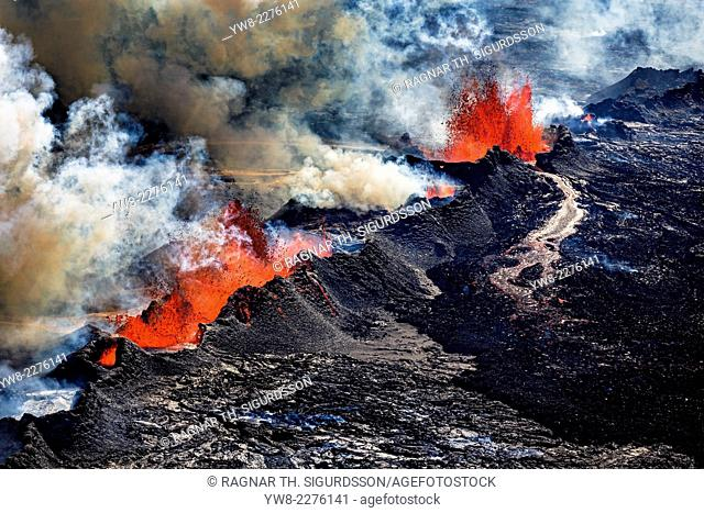 Volcano Eruption at the Holuhraun Fissure near Bardarbunga Volcano, Iceland. Aerial view of lava and plumes. August 29, 2014 a fissure eruption started in...