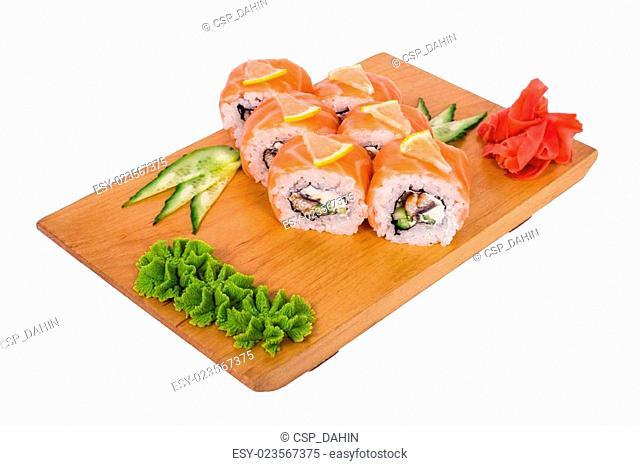 sushi with lemon and salmon