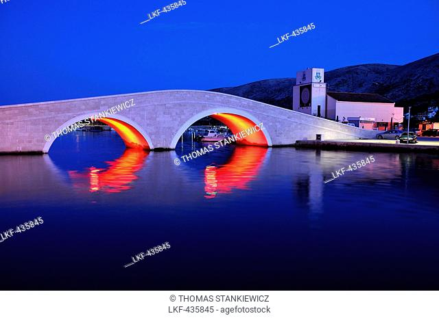 Bridge in the evening light and the old town of Pag, Island of Pag, Dalmatia, Adriatic Coast, Croatia