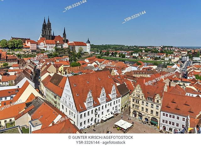 View from the Frauenkirche (Church of Our Lady) to the market square and the cathedral to Meissen, Saxony, Germany, Europe