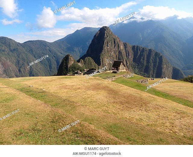 Agricultural fields Machu Picchu in in the Cusco Region, Urubamba Province in the Eastern Cordillera of southern Peru