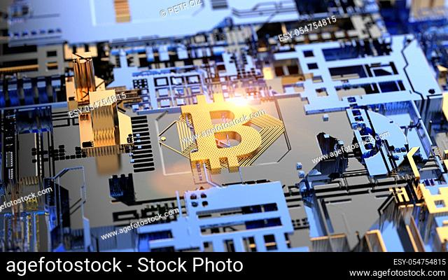 Bitcoin Cryptocurrency mining on Circuit Board Blockchain