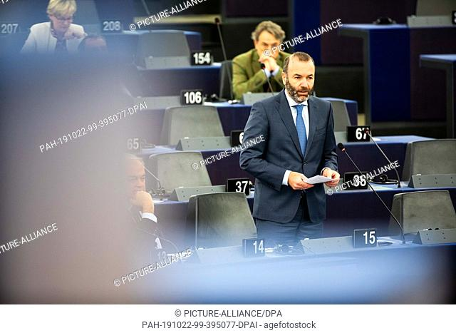 22 October 2019, France (France), Straßburg: Manfred Weber (CDU, EPP Group) addresses the European Parliament during the debate on the outcome of the meeting of...