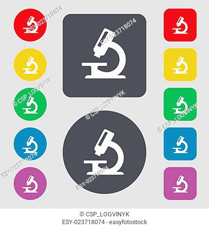 microscope icon sign. A set of 12 colored buttons. Flat design