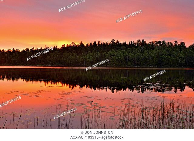 Sunrise skies over Halfway Lake , Halfway Lake Provincial Park, Ontario, Canada