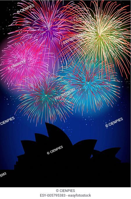 Happy New Year fireworks Australia landmark