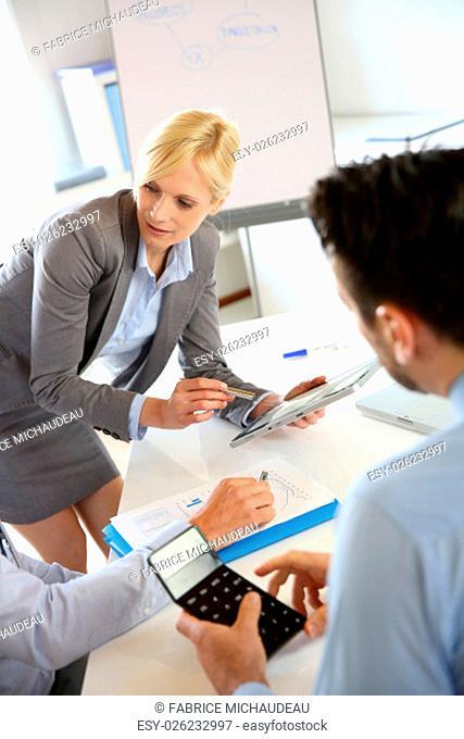 Businesswoman doing business presentation
