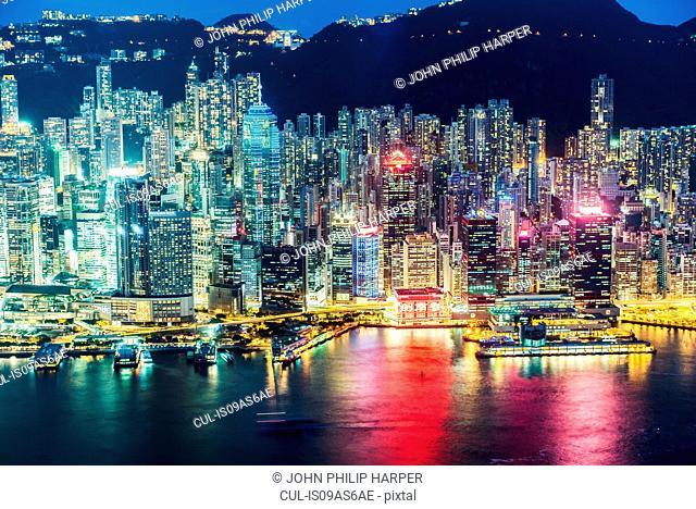Hong Kong island and skyline, illuminated at night, Hong Kong, China