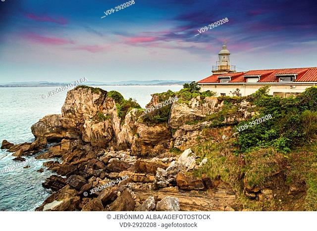 La Cerda lighthouse at sunset, Santander. Cantabrian Sea. Cantabria Spain. Europe