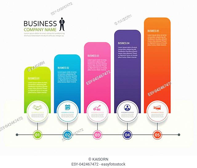 Infographic 5 tab design vector and marketing template business. Can be used for workflow layout, diagram, annual report, web design