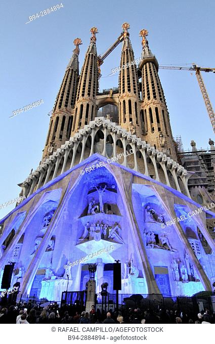 Basilica and Expiatory Church of the Holy Family. Passion façade. Large Roman Catholic church in Barcelona, Catalonia Spain