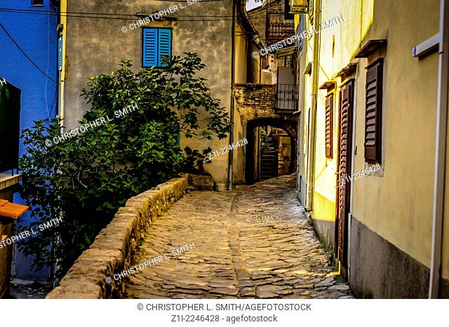 The narrow streets and colorful buildings in the small village of Vrbnik on Krk island Croatia