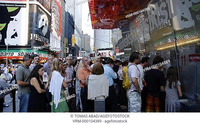 Times Square, 42nd Street, Midtown, Duffy Square, Manhattan, New York City, People awaiting to purchase discount Broadway theater tickets via TKTS