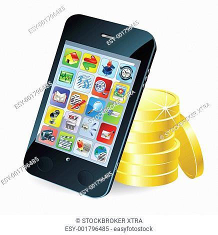 Modern mobile smart phone and coins conceptual illustration