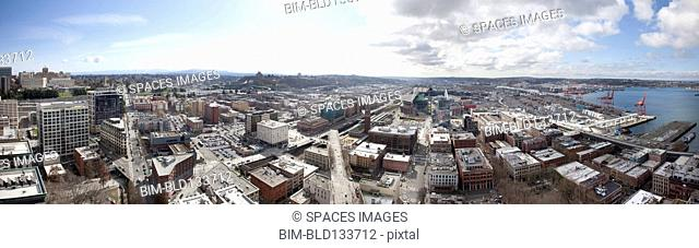 Aerial panoramic view of Seattle cityscape, Washington, United States