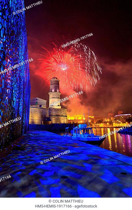 France, Bouches du Rhone, Marseille, 14 July fireworks over the Vieux Port (Old Harbour) and MuCEM seen from the tower of Fort St Jean