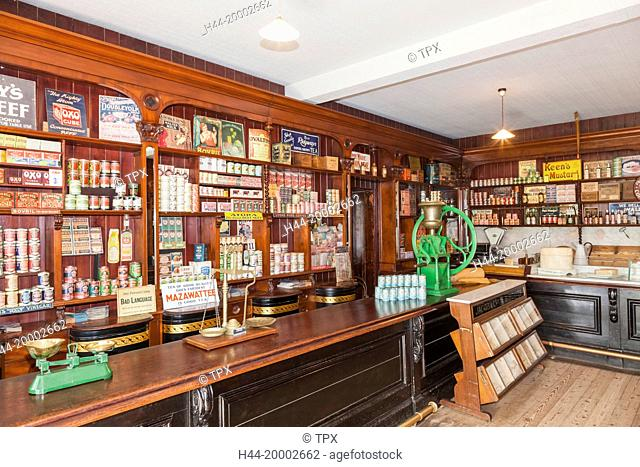 Wales, Cardiff, St Fagan's, Museum of Welsh Life, Gwalia Supply Store, Interior display of Historic and Vintage Food and Household Products