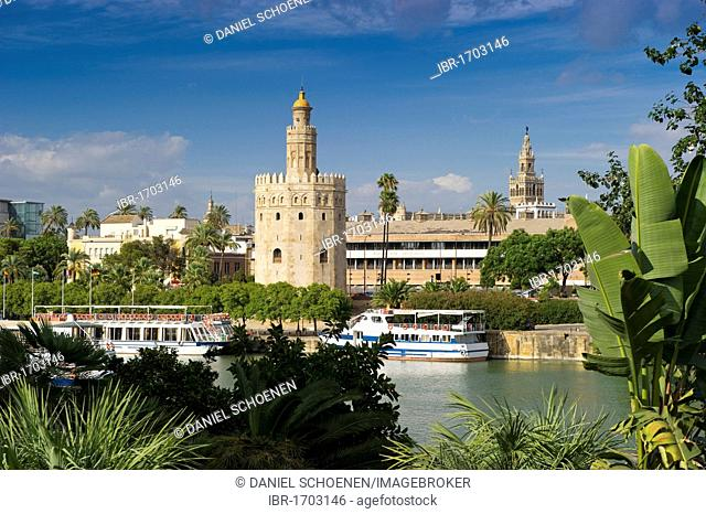 Torre del Oro tower, Seville, Andalucia, Spain, Europe