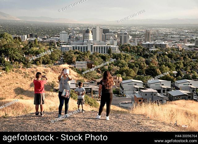 USA, Utah , Davis County, Salt Lake City, latin family at state capitol