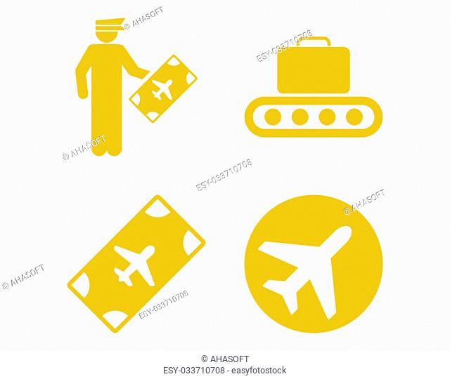 Aviation Icon Set. These flat icons use yellow color. Raster images are isolated on a white background
