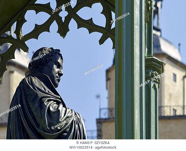 Luther statue at the market in Wittenberg, Saxony-Anhalt, Germany