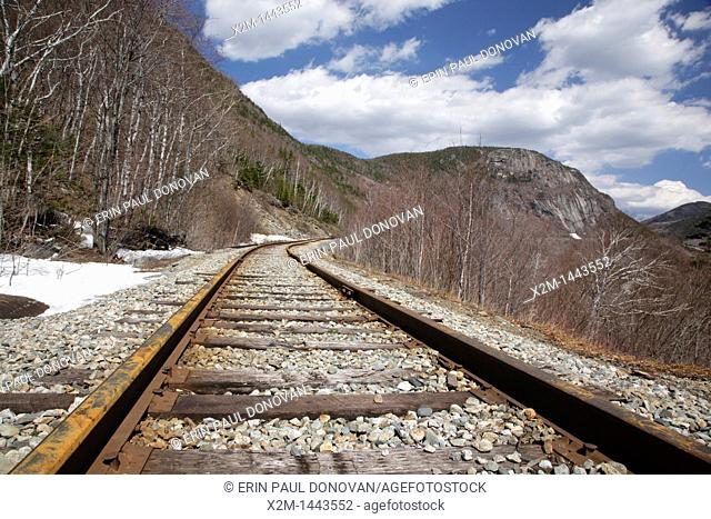 Crawford Notch State Park - Old Maine Central Railroad in the White Mountains, New Hampshire USA  Since 1995 the Conway Scenic Railroad