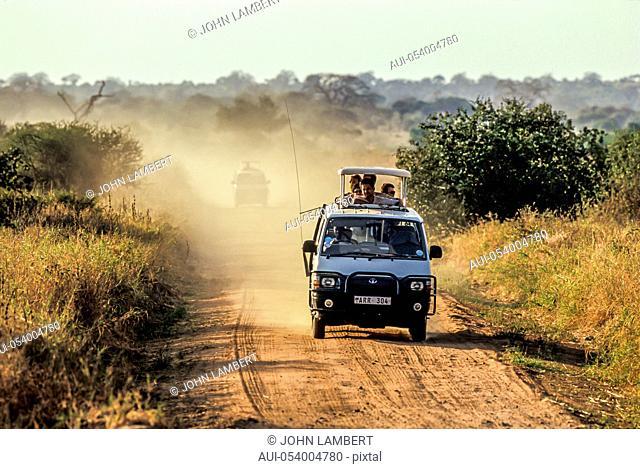 africa, tanzania. seregenti national park, safari car