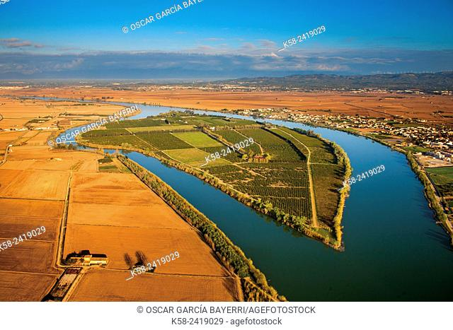 Aerial view of the Ebro River Delta, Tarragona Province, Catalonia, Spain
