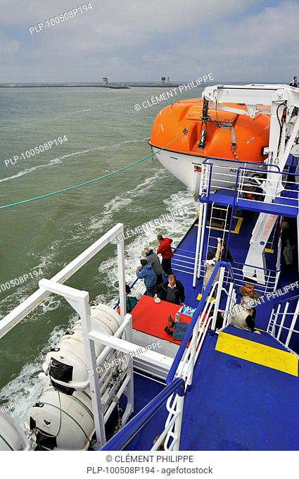 Tourists on board of ferryboat, Europe
