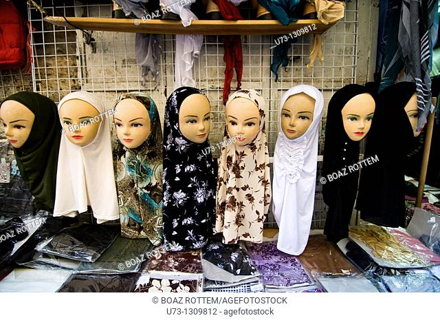 Hijabs on display in a shop in the Muslim quarter of the old city of Jerusalem