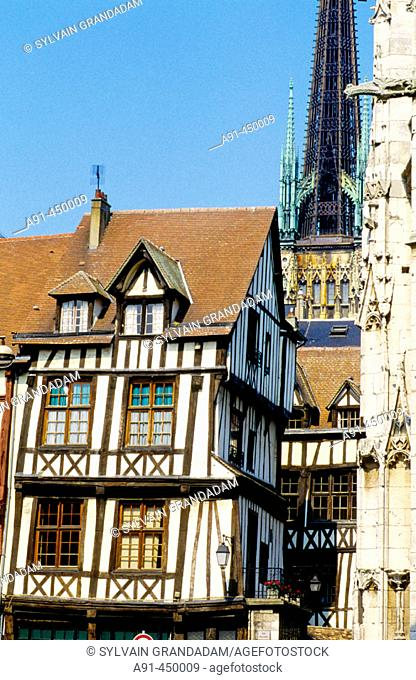 Half timbered houses and the cathedral, Rouen. Normandy, France