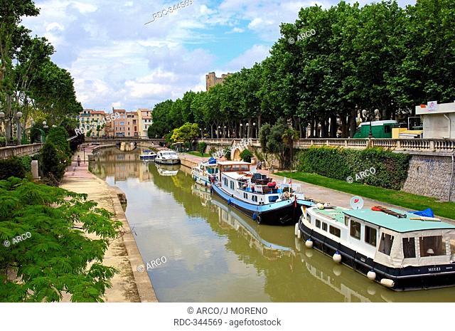 Canal de la Robine, Narbonne, Languedoc-Roussillon, Aude, France