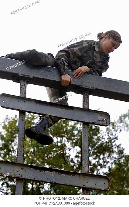A polytechnic student on military experience exercising on the obstacles of the assault course November 2, 2010