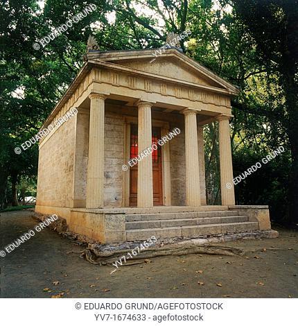 Doric Temple, better known as 'Museum Loringiano'  Historical Botanical Garden 'La Concepción' Malaga, Andalusia, Spain, Europe