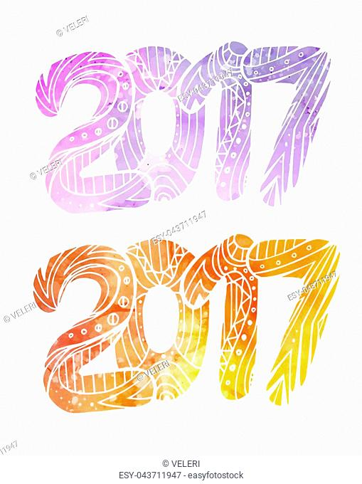 Set of doodle numbers 2017 with boho pattern and watercolor background with splashes. Vector element for your creativity