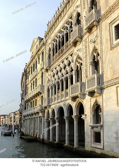 Venice Italy). Facade of La Ca 'd'Oro on the Grand Canal of Venice