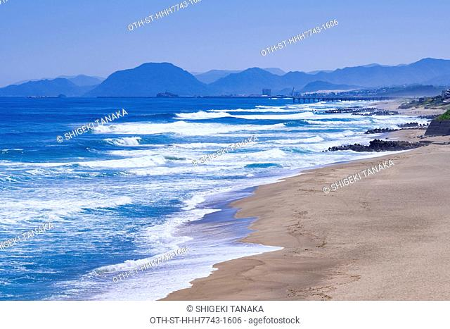 Hakuto beach (White rabbit beach), a popular spot for sea bathing in summer and surfing in winter, at sea of Japan, Tottori, Japan