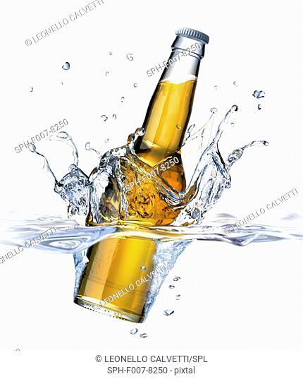 Beer bottle splashing into water, computer artwork