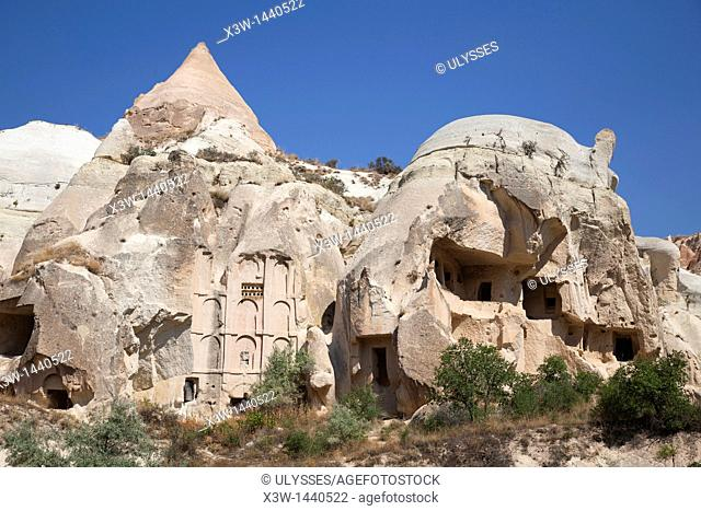 rock homes, rose valley, landscape, cappadocia, anatolia, turkey, asia