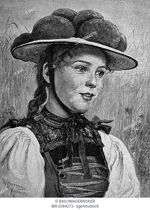 Woman wearing traditional Black Forest of Gutach, Black Forest, Germany, woodcut, 1888, historic engraving
