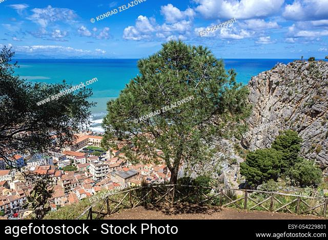 Aerial view from tourist path on Rocca di Cefalu rock massif in Cefalu city and comune on the Tyrrhenian coast of Sicily, Italy